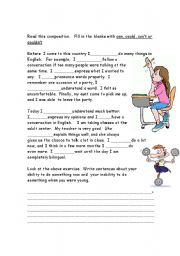 English Worksheet: can could can�t couldn�t