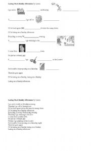 English Worksheets: Song- Queen - Lazing on a Sunday Afternoon