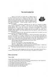 English Worksheets: The most wanted hat