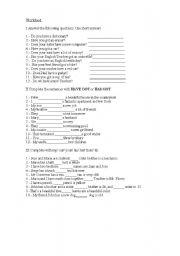 English Worksheet: Worksheet 1