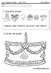 English Worksheets: Happy birthday: reading worksheet 2