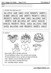 English Worksheet: Happy Birthday: reading worksheet 4