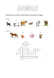 English Worksheets: Animals crossword