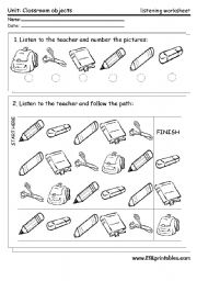 English Worksheet: Classroom material: listening worksheet