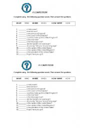 English Worksheets: QUESTION WORDS -A competition