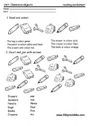 Classroom material: reading worksheet 2