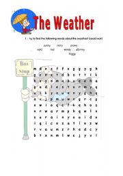 English Worksheet: The weather - crosswords