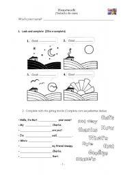 English Worksheets: Greetings + Homework