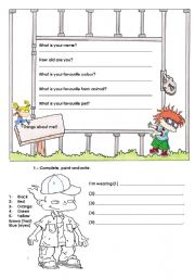 English Worksheets: Personal questions/clothes and colours : revision