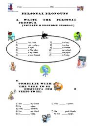 English Worksheet: Verb To Be + Personal pronouns