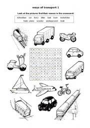 English Worksheet: Ways of  transport 1