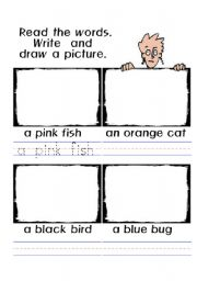 English Worksheets: animals: read and draw