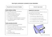English Worksheets: Encouraging and Constructive comments
