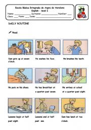 English Worksheets: Daily Routine - comprehension