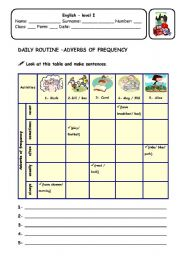 English Worksheet: Daily routine - frequency adverbs