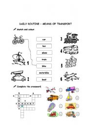 English Worksheets: Daily routine - means of transportation