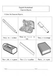 english worksheet classroom objects colouring