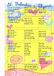 English Worksheet: Valentine�s Rhymes