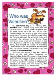 English Worksheets: Who was Valentine