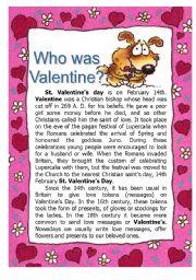 English Worksheet: Who was Valentine
