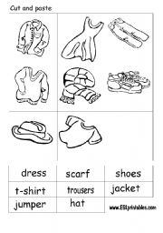 The clothes: cut and paste worksheet.