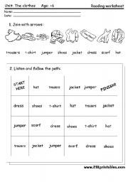 The clothes reading worksheet