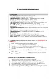 English Worksheet: GRAMMAR REINFORCEMENT WORKSHEET