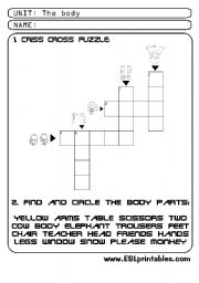 English Worksheets: The body: criss-cross