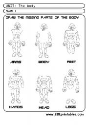 English Worksheets: The body: draw the missing parts