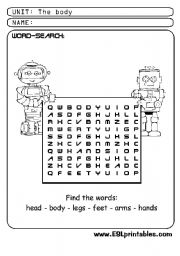 English Worksheets: The body: word-search