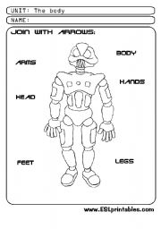 English Worksheets: The body: join with arrows
