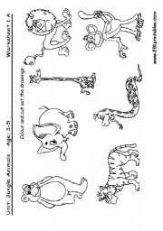 English Worksheet: Jungle animals: cut and paste