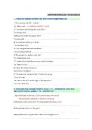 English Worksheets: REPORTED SPEECH WORKSHEET