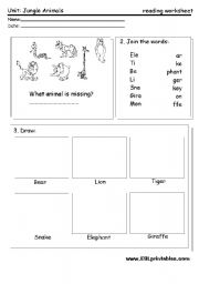 English Worksheet: Jungle animals: reading worksheet