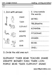 English Worksheet: Jungle animals: reading-writing worksheet