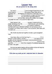 English Worksheets: Word gap Busines English, based on lesson one