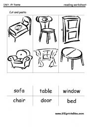English Worksheet: The furniture: cut and paste