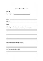 English worksheets: Current Events