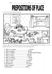 English Worksheet: Preposition of place