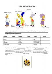 new 453 simpsons french family worksheet family worksheet. Black Bedroom Furniture Sets. Home Design Ideas