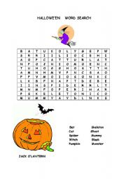 english worksheet halloween word search - Halloween Word Searches For Kids