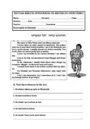 English Worksheet: Daily routine test