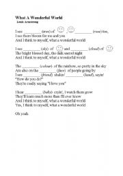 English Worksheet: What a wonderful world - Louis Armstrong (song)