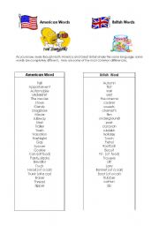 English Worksheets: British words American words