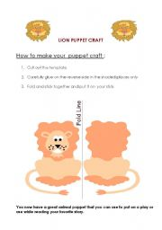 English Worksheets: lion paper craft