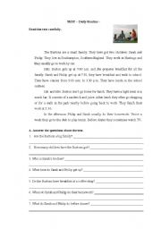 English Worksheet: Test Daily Routine
