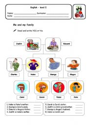 ESL kids worksheets: Me and my family