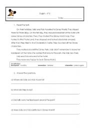English Worksheet: Past Simple - Text  for reading comprehension
