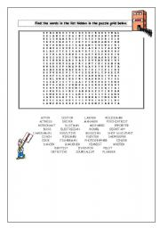 English Worksheet: wordsearch jobs