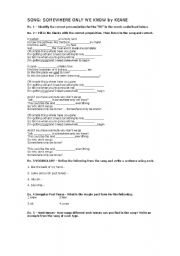 English Worksheets: SONG: Somewhere Only We Know by Keane